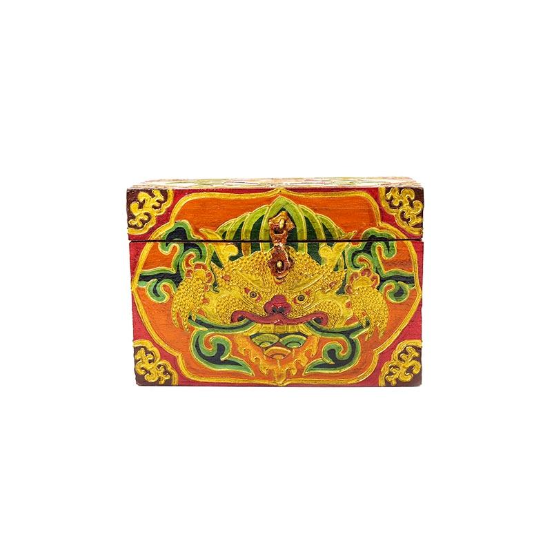 coffret tibétain en bois visage de la splendeur