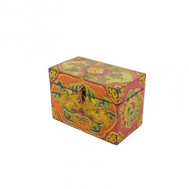 coffre en bois peint bouddhiste lotus