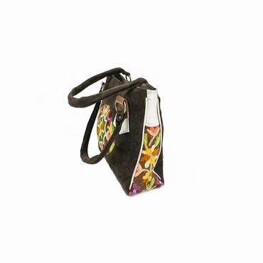 sac à main féminin en cuir marron et brodé fleuri