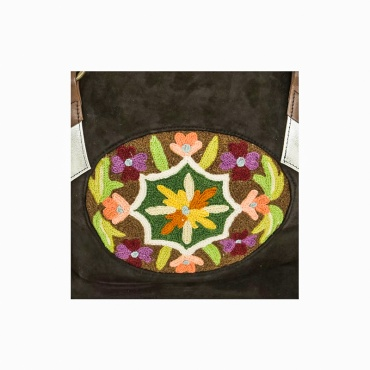 sac à main original en cuir marron fleur brodée
