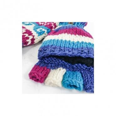 moufles gants avec capuche qui se rabat