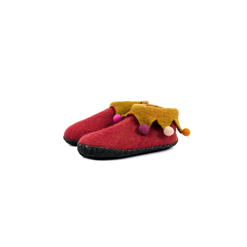 pantoufles chaussons en laine feutrée rouge taille 35-36