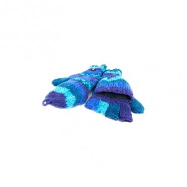 moufles mitaines gants capuche rabattable bleu