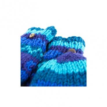 gant mitaine moufle en laine tricoté éthique capuche amovible bleu