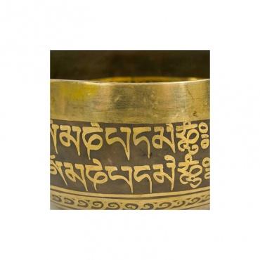 bol tibétain 7 métaux 2ème chakra gravé mantra et noeud sans fin