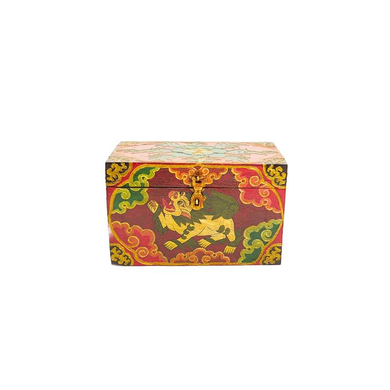 coffret en bois tibétain lion des neiges