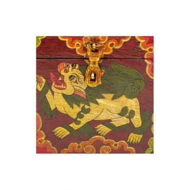 lion des neiges tibétain peint sur coffre