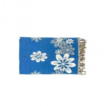 étole châle couverture écharpe fleurs bleu