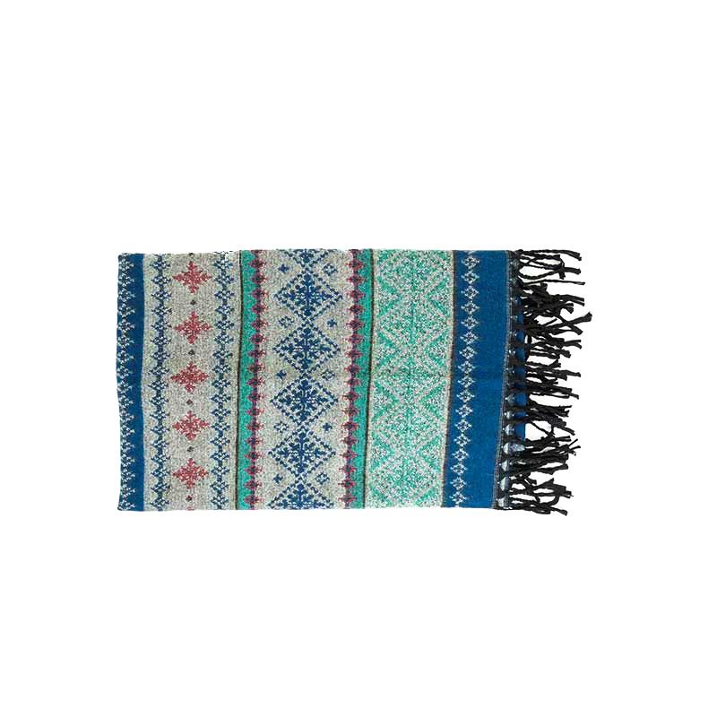 châle couverture écharpe motif hivernal bleu gris rose tendre
