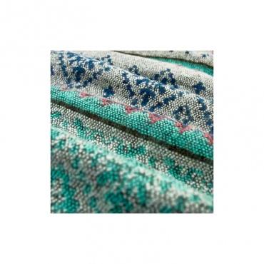 châle écharpe couverture gris bleu rose tendre motif hivernal