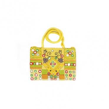 sac indien jaune brodé et soyeux avec miroir