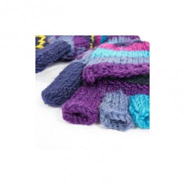 moufles gants mitaine avec capuche en laine tricotée et doublée polaire