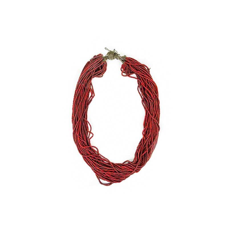 collier ancien en perles de verre rouge Népal