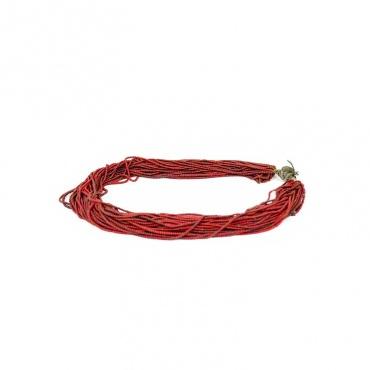 collier ethnique perles de verre rouge tibet népal inde