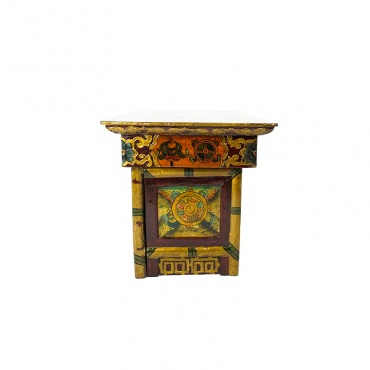 autel table bouddhiste lion des neiges  lotus et dharma