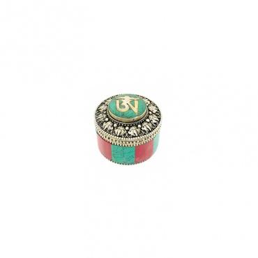 petite boite à bijou écrin AUM turquoise et corail