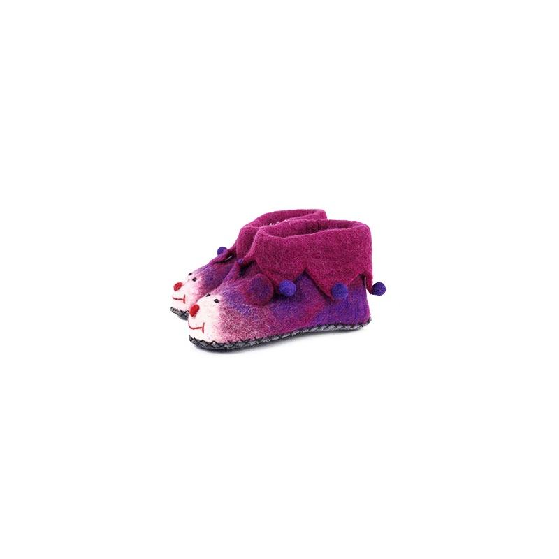 chaussons pantoufles en laine bouillie rose taille 30-31