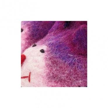 chaussons pantoufles en laine feutrée rigolote rose 30-31