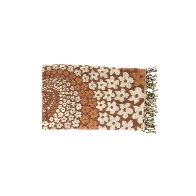 châle couverture écharpe fleurie brun beige spirale