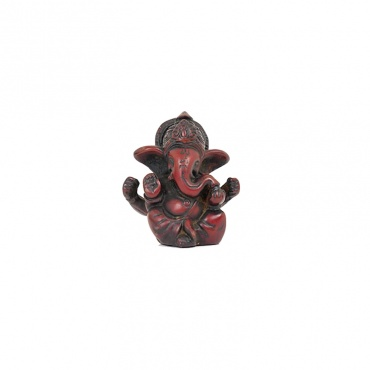 petite statue de Ganesh en résine rouge acajou