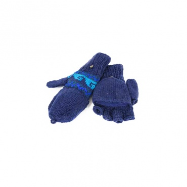 moufles gants mitaines en laine bleu capuche amovible