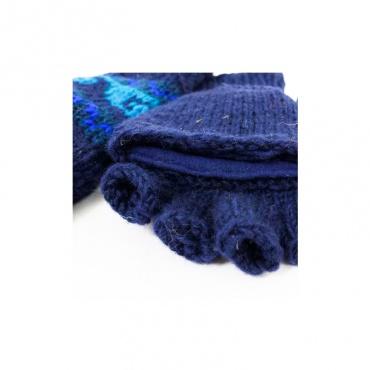 gants moufles mitaines en laine bleu doublés de laine polaire