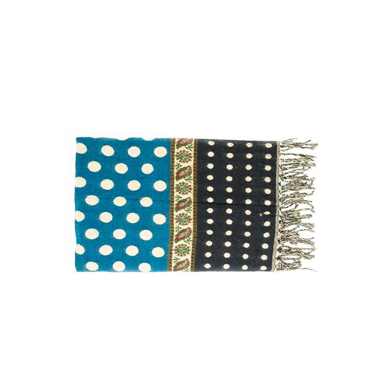 châle couverture écharpe bleu vert à pois et noir