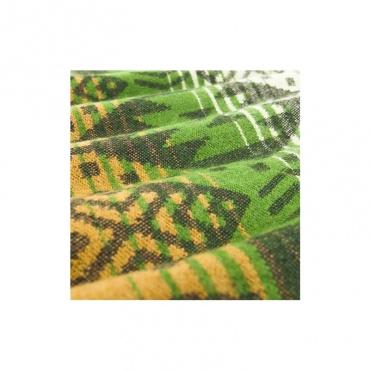 châle couverture écharpe dessin géométrique vert brun beige
