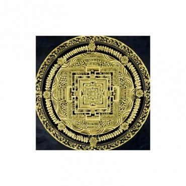 peinture bouddhiste tangka cousu sur tissu noir et rouge