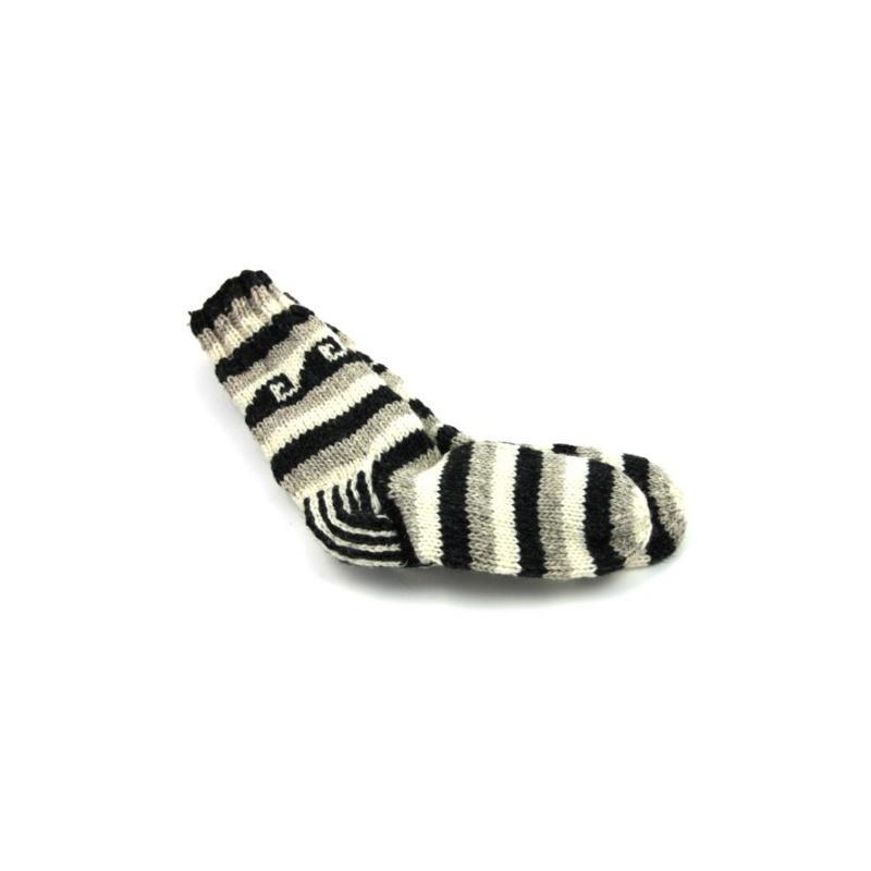 Chaussette rayé gris écru noir