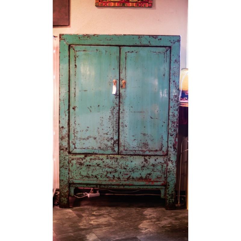 meuble armoire chinoise bois massif bleu
