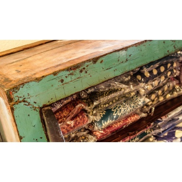armoire cabinet chinois bois ancien bleu