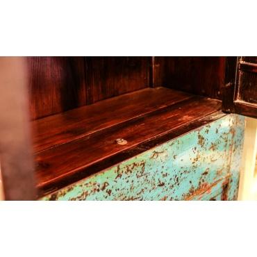 trappe meuble chinois bleu ancien