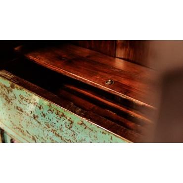 meuble armoire cabinet bleu chinois avec étagère et trappe