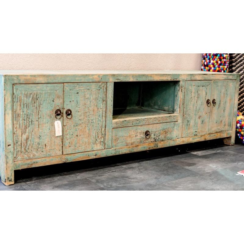 meuble de télévision chinois bleu ancien