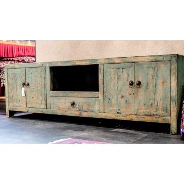meuble de salon télévision chinois bleu ancien