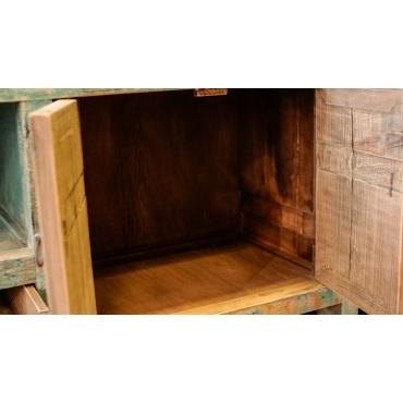 buffet meuble salon armoire télévision bleu chinois rustique