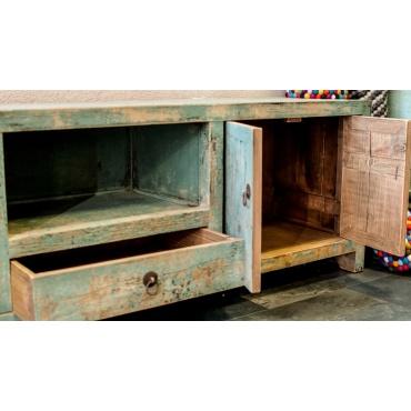 meuble bas chinois pour télévision bleu rustique