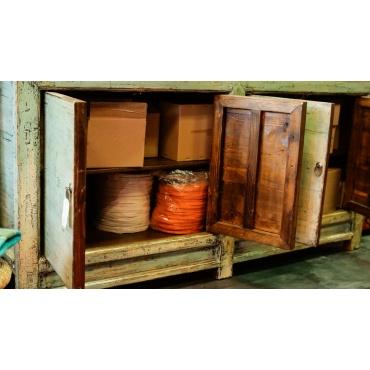 intérieur armoire buffet chinois rayonnage bleu laqué