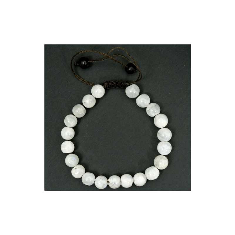 bracelet mala pierre de lune blanche opaque