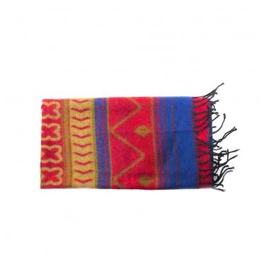 chale écharpe doux et chaud motifs ethniques rouge bleu beige