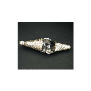 conque pendentif cristal de roche Himalaya et argent