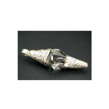 pendentif conque en cristal himalayen et argent
