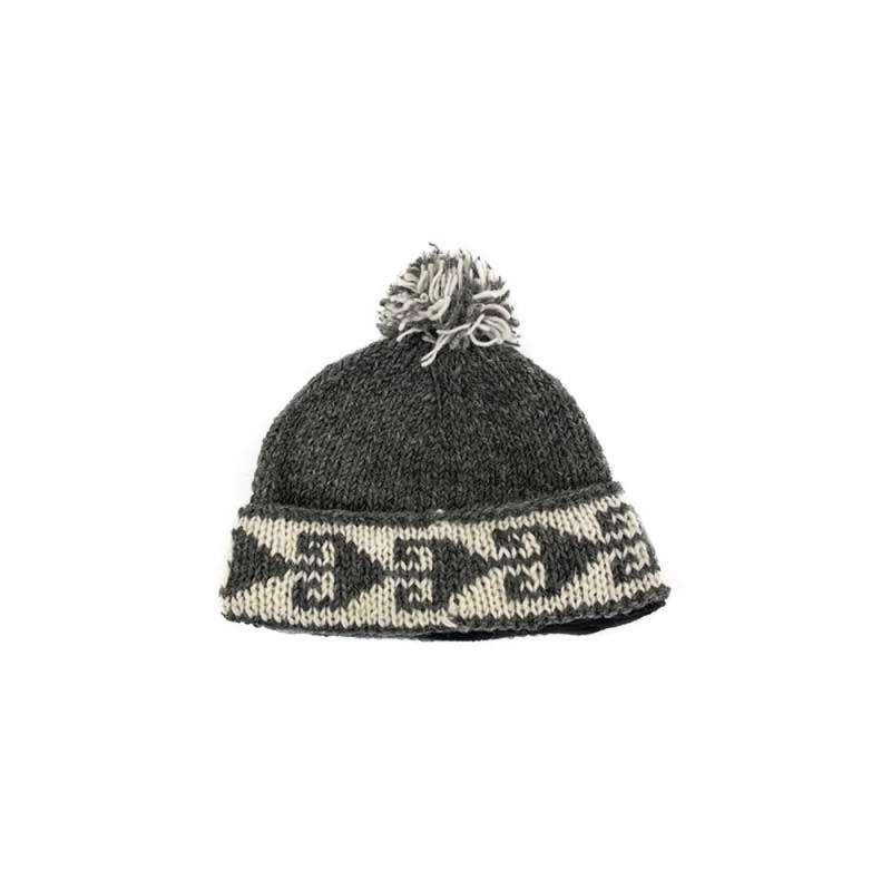 bonnet laine naturelle et fleece brun gris Népal éthique unisexe