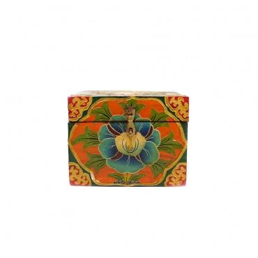 coffret tibétain en bois peint artisanal Népal