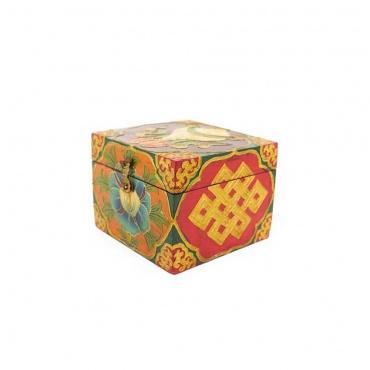boîte en bois peinte bouddhiste conque lotus noeud sans fin
