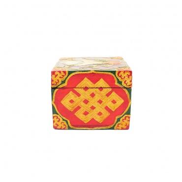 coffre à trésor bijoux en bois peint artisanat Népal bouddhiste tibétain