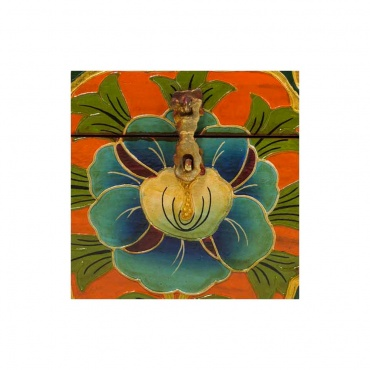 fleur de lotus bleu sur coffret en bois bouddhiste tibétain