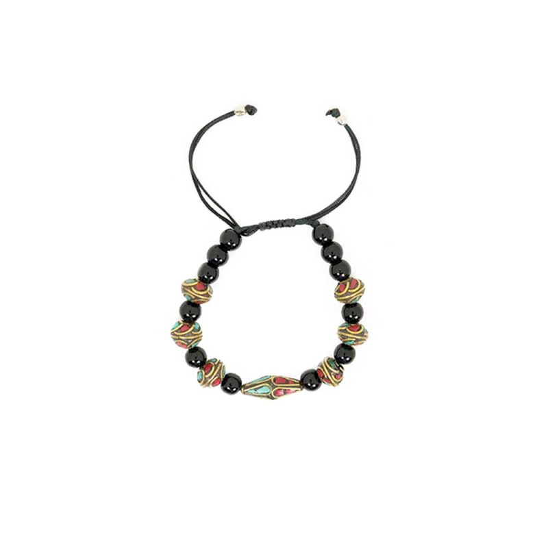 bracelet tourmaline et pierre incrustée corail et turquoise