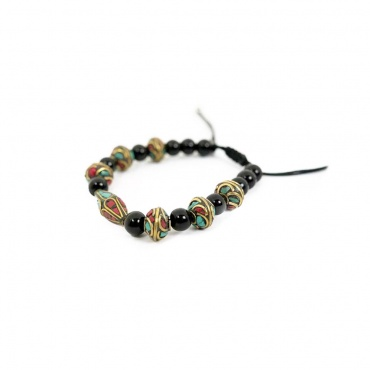 bracelet tibétain tourmaline noir et perles fantaisies